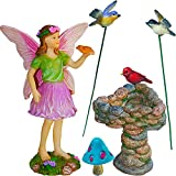 Mood Lab Fairy Garden - Miniature Accessories - Hand Painted Figurines Kit of 6 pcs - Birds Set for Outdoor or House Decor