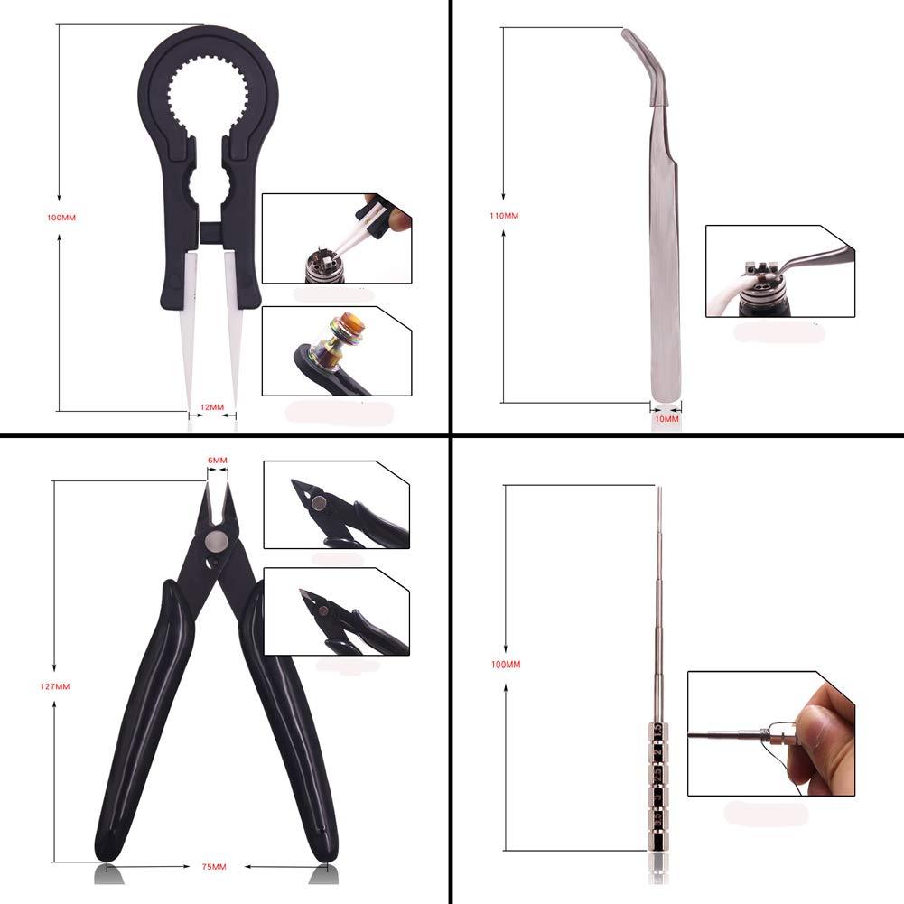 DIY Kit 8 Piezas Kit de Cigarrillo Electrónico Atomizador,pinzas de cerámica, conjunto de bobina, cortador de alambre, Pinzas Antiestáticas: Amazon.es: ...