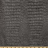 faux leather upholstery fabric - Faux Leather Gator Metallic Pewter Fabric By The Yard