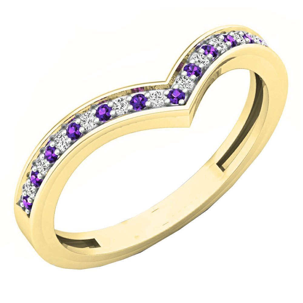 14K Yellow Gold Round Amethyst & White Diamond Wedding Stackable Band Guard Chevron Ring (Size 7.5)