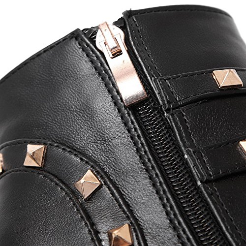 Material Blend High Womens Black Heels Top Closed Low rivet Materials Soft Solid Zipper Toe Boots AllhqFashion 5XHqwx8q