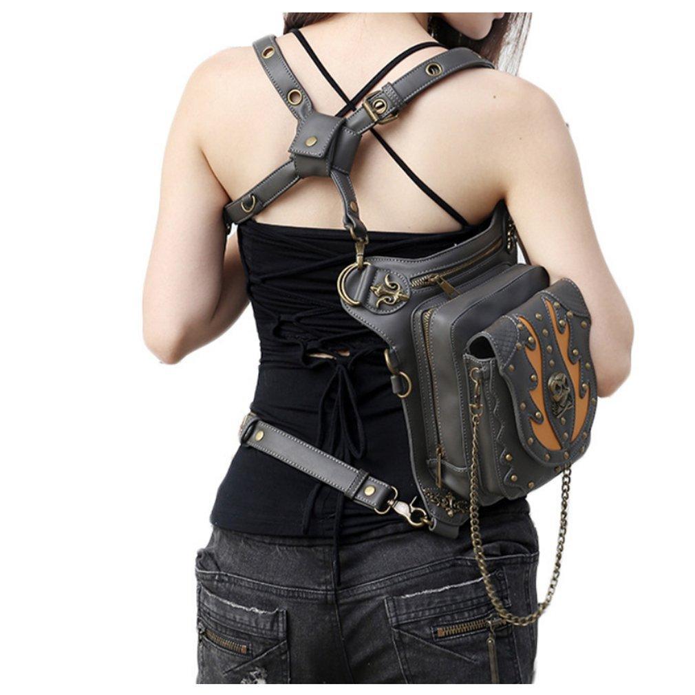 YANXH Women Leather Crossbody Steampunk Waist Bags Leg Hip Holster Purse Gothic Motorcycle
