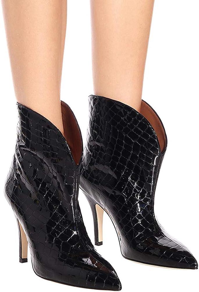 Ladies Pointed Snake Grain Pu Leather Super High Heel Set of Feet Walking Work Wedding Party Night Club Chelsea Short Boots Black