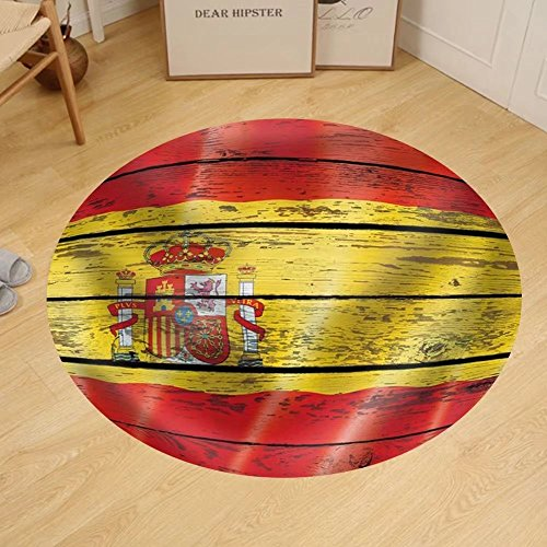 Gzhihine Custom round floor mat Flag of Spain on a Wooden Background by Gzhihine