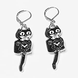 product image for Kit Cat Klock New Earrings (Black and Silver)