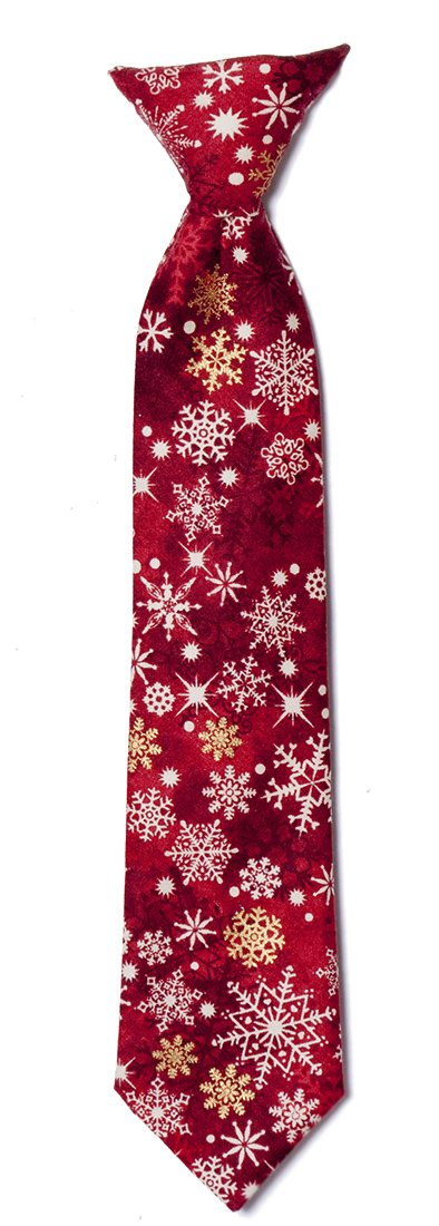Red and Gold Snowflake Clip-on Neck Tie Holiday Design for Baby to Adult (Boys)