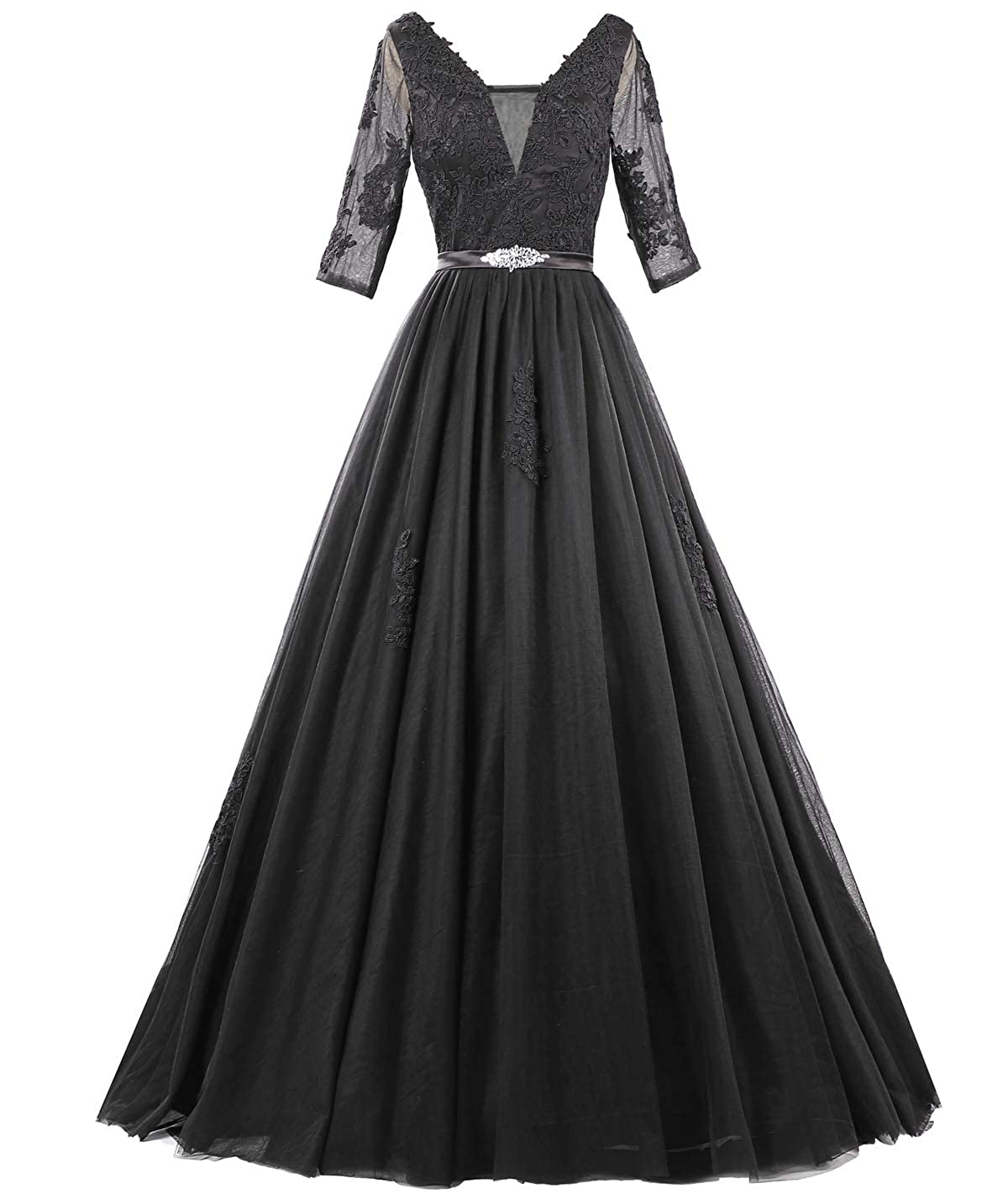 Black ZAXANTS Women's Tulle Lace Boat Neck Long Evening Dresses with Sleeves
