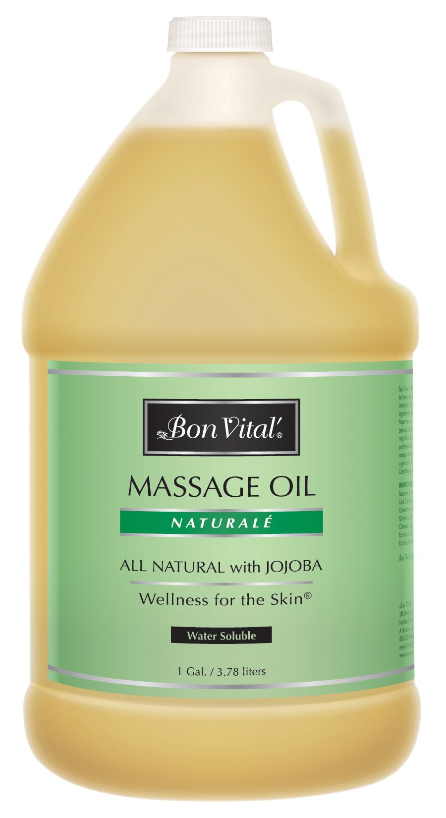 Bon Vital Naturale Massage Oil Made with Natural Ingredients for an Earth-Friendly & Relaxing Massage, Revives and Rehydrates Dry Skin Naturally, with Green Tea Extract for Added Skin Benefits, 1 Gal by Bon Vital
