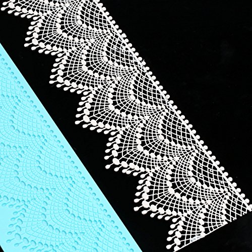 Anyana sugar tassel jewel pearl dangle edible cake silicone fondant scallop impression lace mat cake decorating mold gum paste cupcake topper tool icing candy imprint baking moulds sugarcraft trimming by Anyana (Image #2)