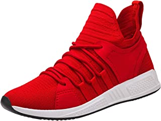 Chaussures ADESHOP Mode Sneakers Hommes Couleur Unie Tissage Volant Surface Nette Baskets LaçAge Haute Aide Les Loisirs Travail Sports Confortable AntidéRapant Respirant Chaussures Plates