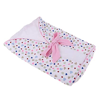 "Fenteer Heart Printed Plush Sleeping Bag Baby Blanket for 9-16"" Reborn Newborn Doll"