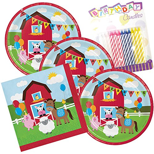 Farmhouse FunTheme Plates and Napkins Serves 16 With Birthday Candles