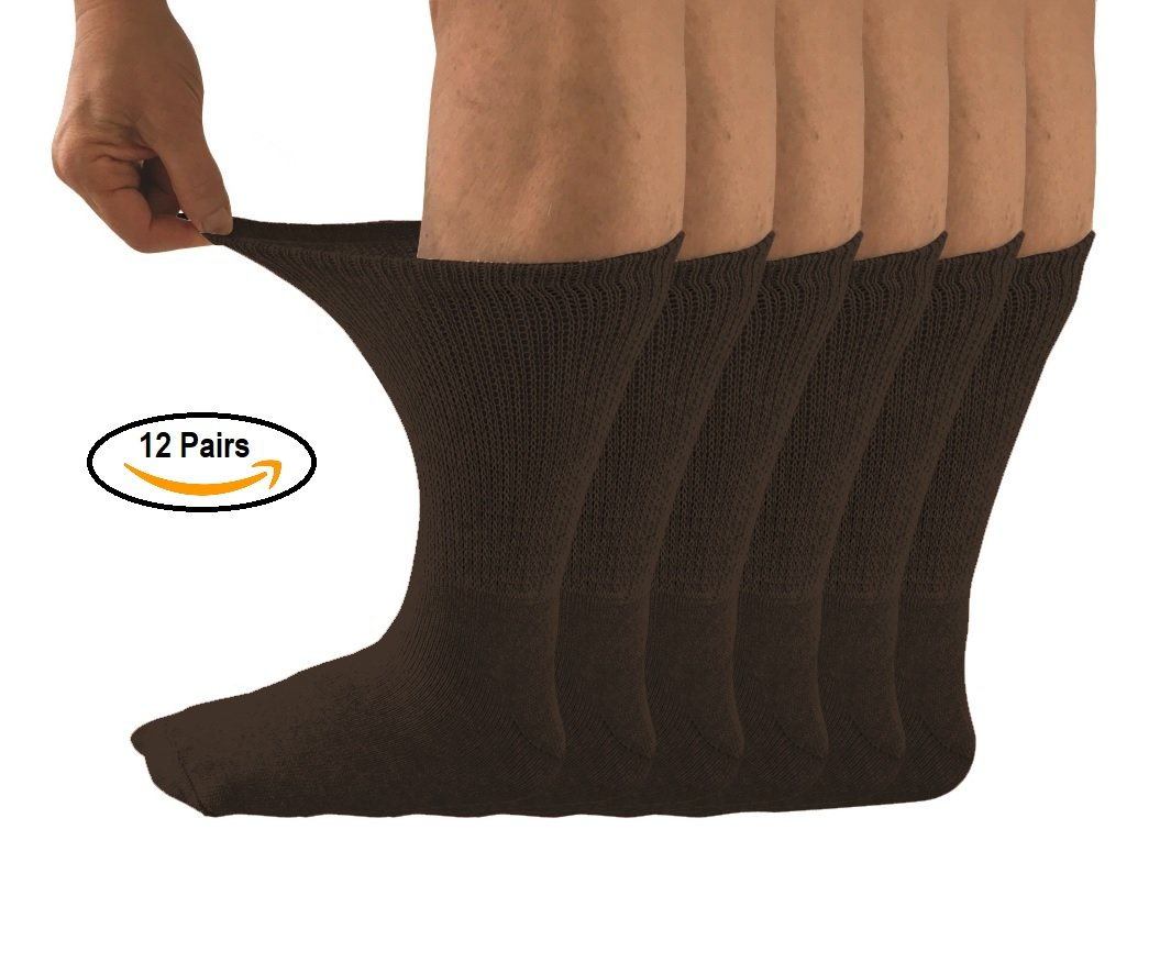 Diabetic Socks, 12 pairs, Non Binding Top, Won't limit circulation, Minimize friction and Neurological discomfort (10-13, Black)