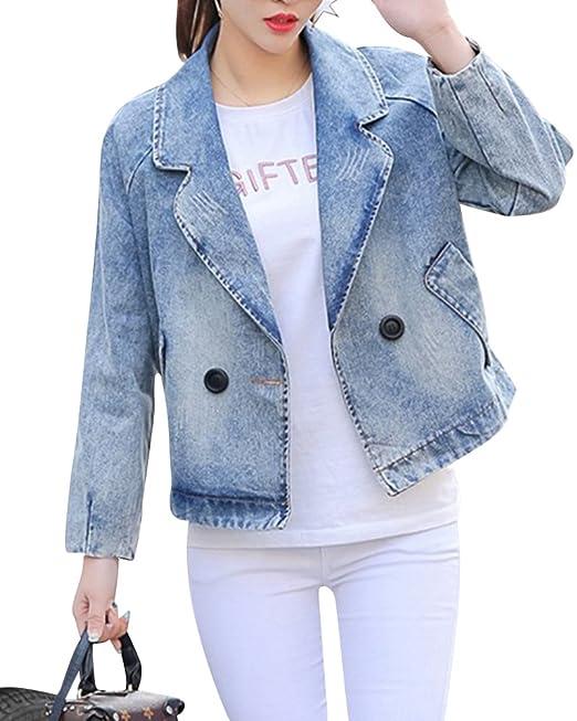quality design 756e8 96341 Donna Giacca Primavera-Estate Jeans Manica Lunga Risvolto ...