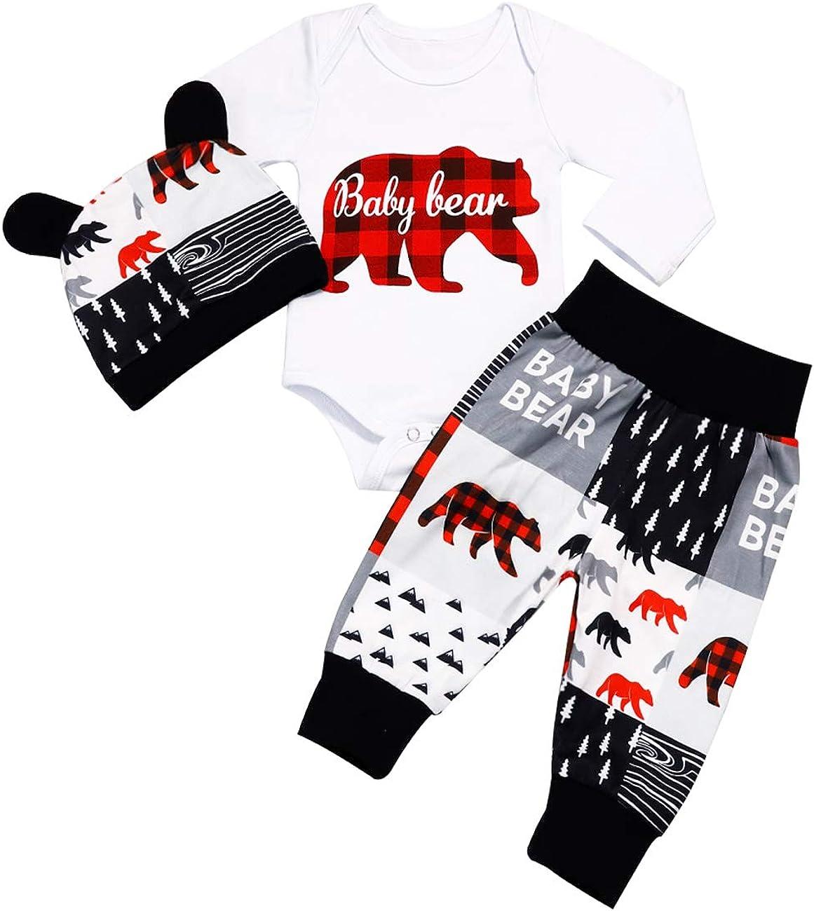 Newborn Baby Boy Girl Clothes Baby Bear Letter Print Romper+Long Pants+Hat 3PCS Outfits Set
