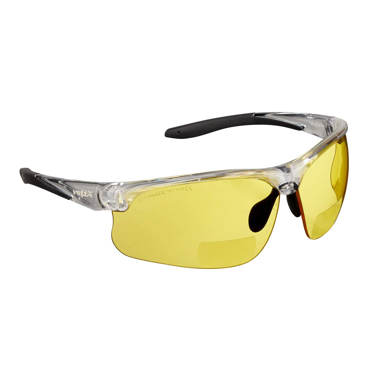 Gafas bifocales de Seguridad para Lectura voltX 'Constructor Ultimate' (Montura Transparente, Lentes Amarillas Dioptría +1.0) CE EN166FT - Bifocales Ciclismo Deportivo - UV400
