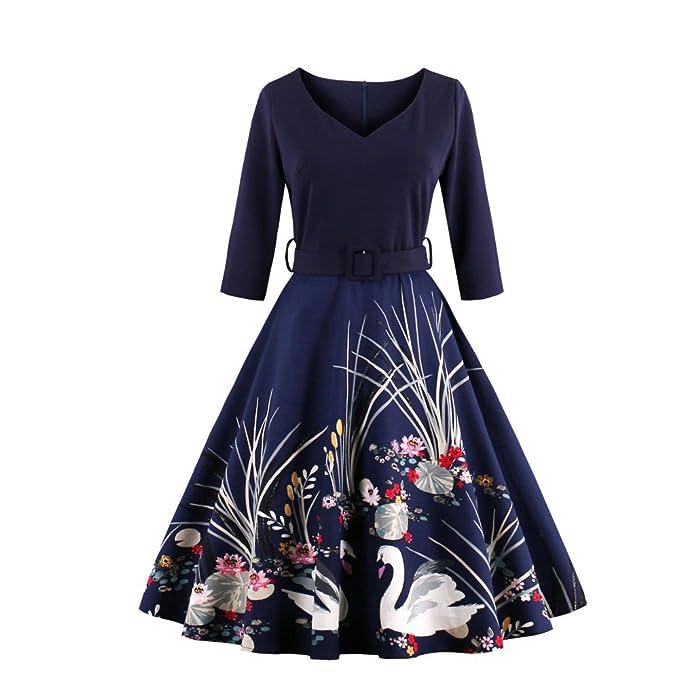 UniqStore Vestido Cisne Flores para Mujer Vestidos de Media Manga Vestido de Fiesta Vestidos cotidianos: Amazon.es: Ropa y accesorios
