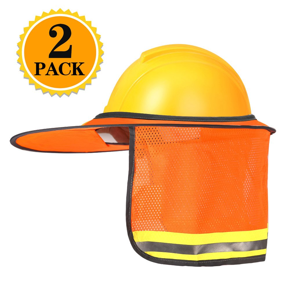 Zealor 2 Pack Hard Hat Neck Sun Shield, High Visibility, Reflective, Full Brim Mesh Sun Shade Protector (Orange)