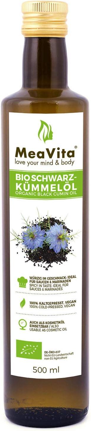 Meavita Aceite De Comino Negro Orgánico Meavita, Prensado En Frío, 1 Paquete (1 X 500Ml) 500 ml