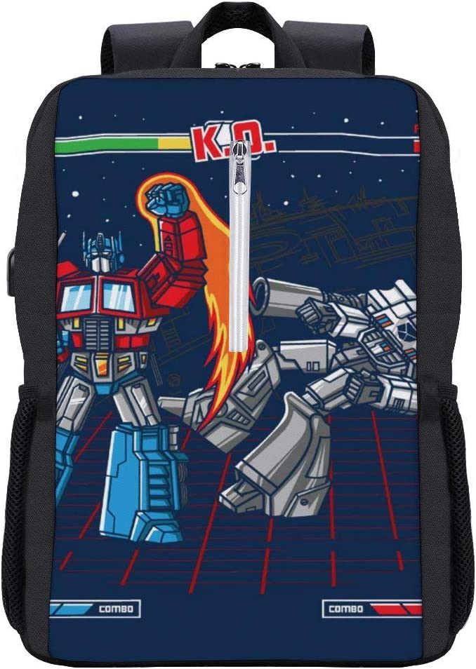 Mega Battle Optimus Prime Megatron TRAN-SFORMERS Backpack Daypack Bookbag Laptop School Bag with USB Charging Port