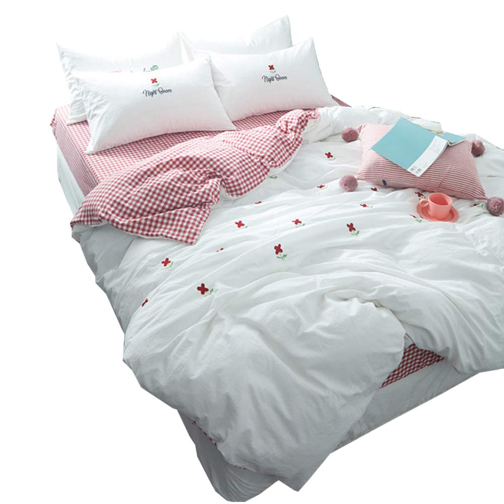HIGHBUY Soft Cotton Embroidery Floral Twin Duvet Cover Sets White for Women Girls Reversible Red Geometric Grid Kids Bedding Sets Twin Children Single Bed Comforter Cover with Zipper Closure,Twin by HIGHBUY (Image #1)