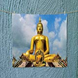 Analisahome Microfiber Towel The Biggest Golden Indian Statue at The Temple in Thai Oriental Sage Asian High Absorbency W13.8 x W13.8 inch