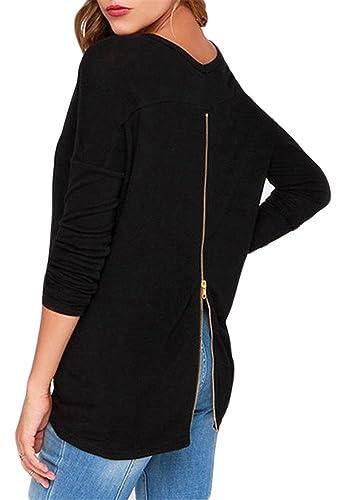 Halife Women's Round Neck Long Sleeve Back Zipper T-shirt Tops