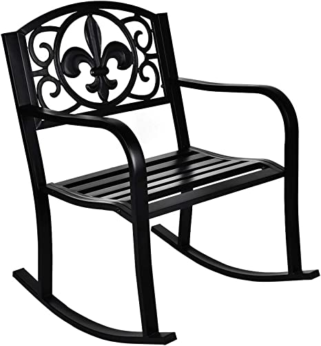GIODIR Outdoor Patio Rocking Chair, Metal Rocking seat for for Deck, Backyard or Garden w Scroll Design Black
