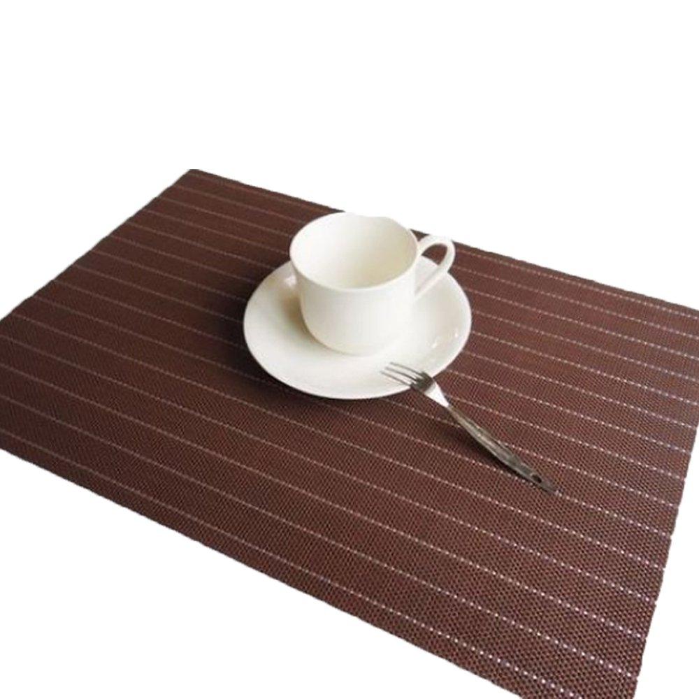 E Support プレースマット ダイニングテーブル用 6枚セット 耐熱 汚れにくい ビニール織物 キッチンテーブルマット 洗濯可能 滑り止め ポリ塩化ビニル プレースマット ブラウン PWALJJCD079BRx6  ブラウン B07G8Z54VL