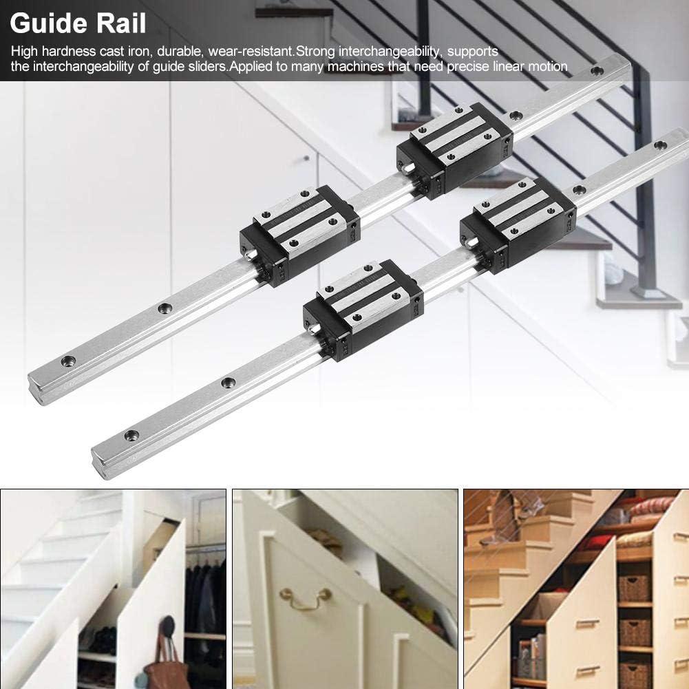 2Pcs HG15-400mm Rail de Guidage lin/éaire avec 4Pcs Black HGH15 Bloc de Glissement de roulement lin/éaire Filfeel Rail de Guidage