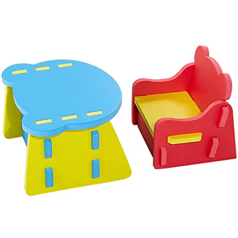 Zoeshare Kids Table Chair Sets Non Toxic Soft Foam Furniture Baby, Toddler  Table Set