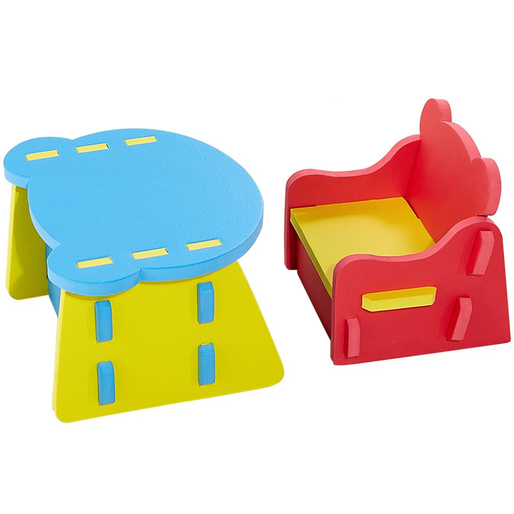 Zoeshare Kids Table and Chair Sets Non-Toxic Soft Foam Furniture for Baby, Toddler Table Set with Storage Multi-Functional Interlocking Kids Play Set