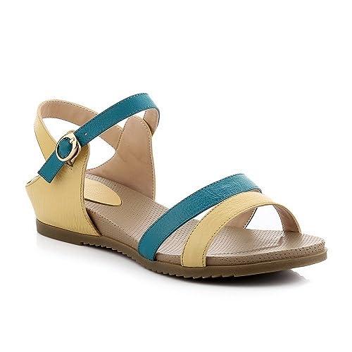 9dca1856 AllhqFashion Mujeres Hebilla Mini tacón Cuero De Vaca Sólido Puntera  Abierta Sandalia, Amarillo, 39: Amazon.es: Zapatos y complementos