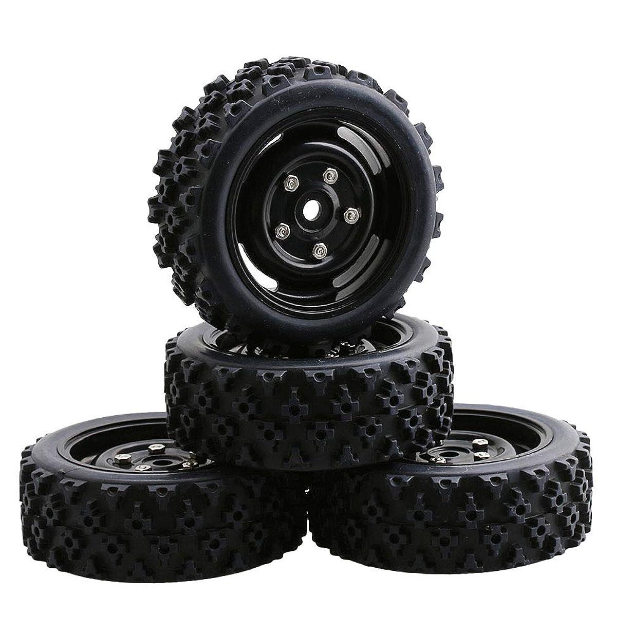 大きいインタネットを見る決定するMxfans 4個入れ ドット柄 ラバー タイヤ& プラスチック製 16スポーク ホイールリム RC 1:10 オフロード車のため   (ブラック)
