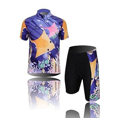 Amurleopard Boys Kids Maillot Set Cycling Jersey Set With 3D Padded Shorts Bib Shorts Jersey+ShortM