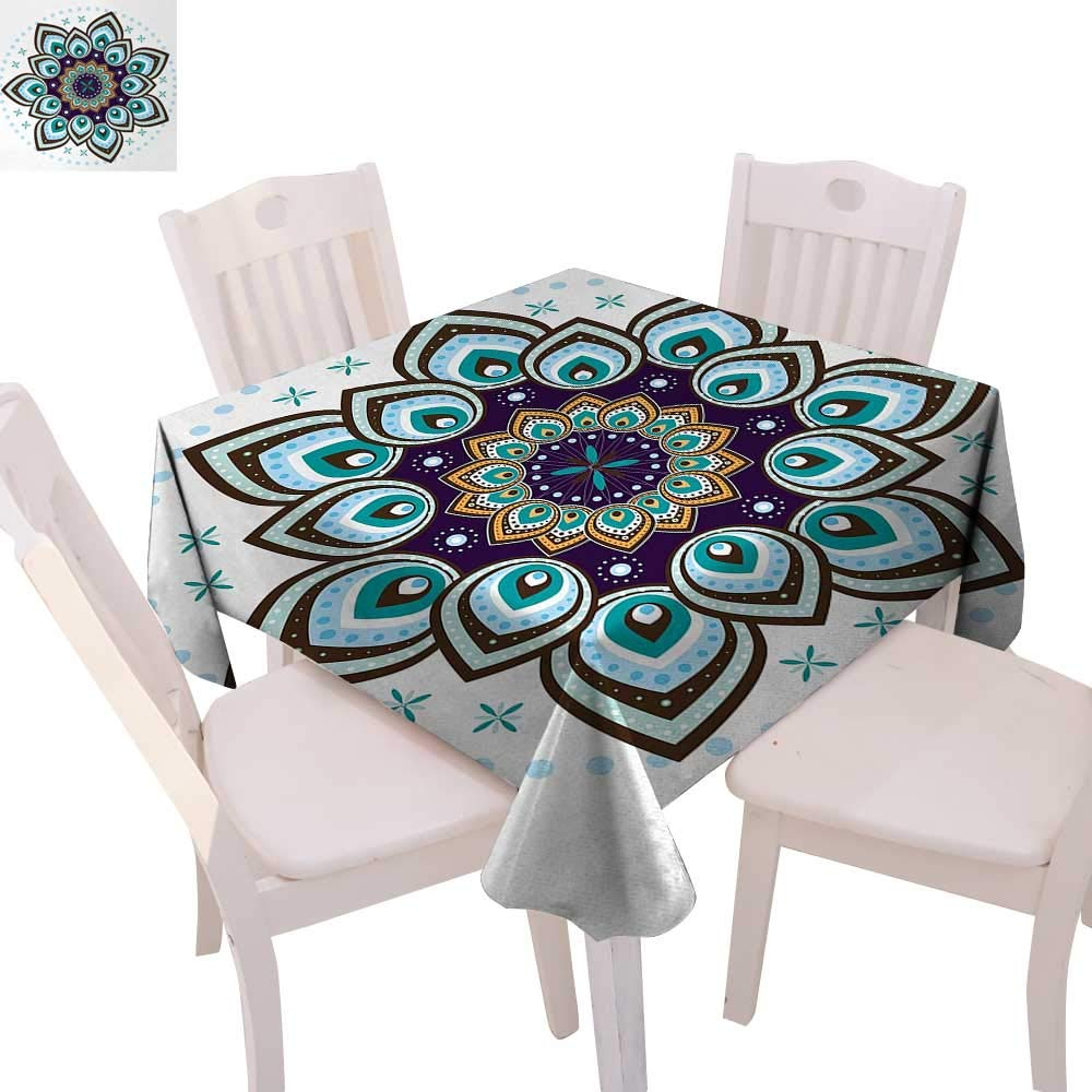 color15 70\ color15 70\ cobeDecor Mandala Printed Tablecloth Boho Lotus Flower Stylized Microcosm Motif Unique Retro Spiritual Theme Flannel Tablecloth 70 x70  Purple Teal Brown