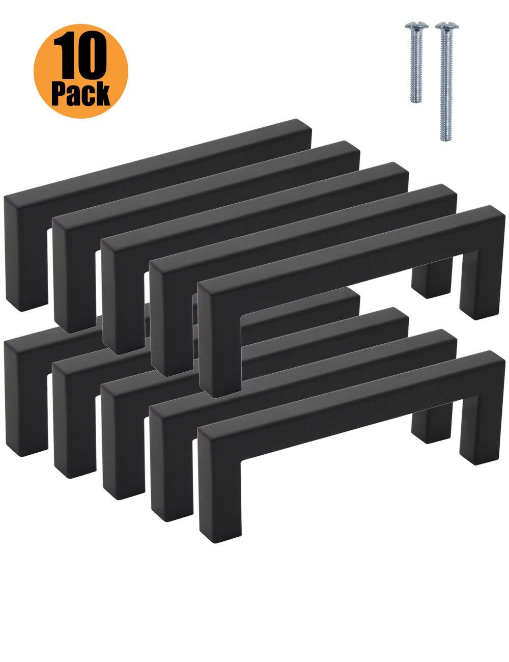 colore: nero maniglie per ante di armadietti da cucina nero in acciaio inox credenze per camera da letto Pinlin larghezza 12 mm foro centrale cassetti