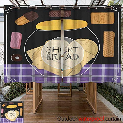 RenteriaDecor Outdoor Curtain for Patio Different Biscuits and Cookies in Jars W84 x L72 ()