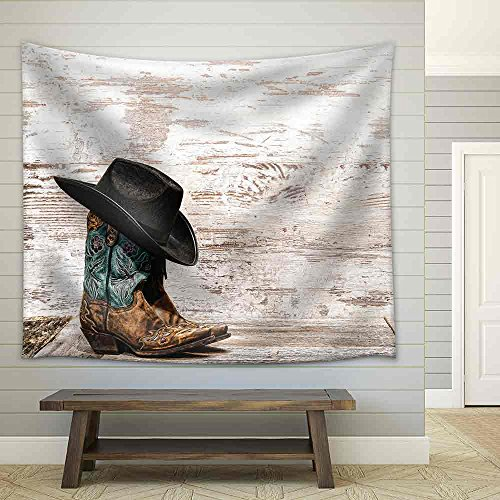 American West Rodeo Black Cowboy Hat Atop Pair of Designer