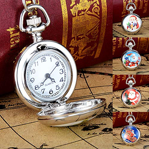 Snowman Christmas Tree Santa Claus Xmas Child Fancy Party Pocket Watch Gift by Gaweb (Image #2)