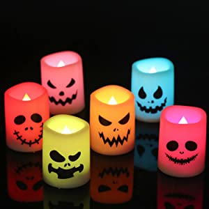 DRomance Flameless Votive Candles Flickering Remote and Timer, Multi Color Changing Battery Operated LED Votive Candles Set of 6 Halloween Decals 1.5