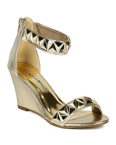 c8492038d Women Metallic Leatherette Open Toe Pyramid Stud Decor Ankle Cuff Sandal  Wedge BJ25 - Light Gold