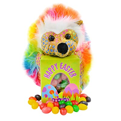 Needzo Colorful Crazy Hair Easter Hedgehog Plush with Jelly Beans Basket Stuffers, 6 Inch: Toys & Games