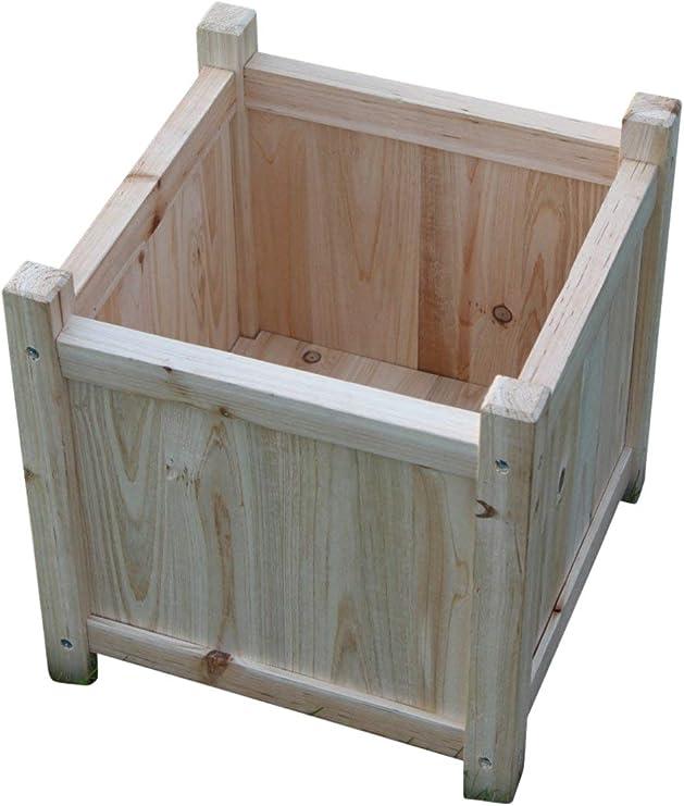 PACK DE 2 maceteros grandes de madera para uso en interiores o exteriores: Amazon.es: Jardín