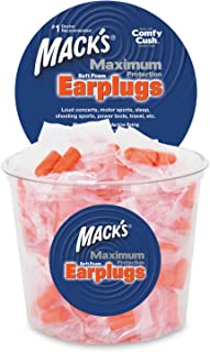 product image for Mack's Maximum Protection Soft Foam Earplugs – 100 Pair, 33 dB Highest NRR – Comfortable Ear Plugs for Sleeping, Snoring, Loud Concerts, Motorcycles and Power Tools