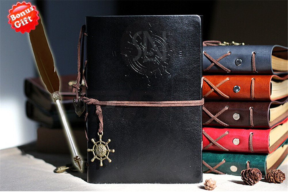 Vintage Retro Leather Cover Journal Jotter Diary Notebook Bonus Feather Pen Refillable Spiral Daily Notepad Classic Travel Journal Diary - Price Xes (black + feather pen)
