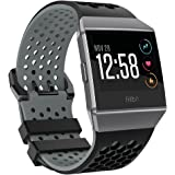 """Bossblue for fitbit ionic Bands for Women Men Large Small,Soft Silicone Waterproof Breathable Replacement Accessories sport strap for Fitbit ionic Smartwatch. (Black/gray, Large(6.7""""-8.4""""))"""