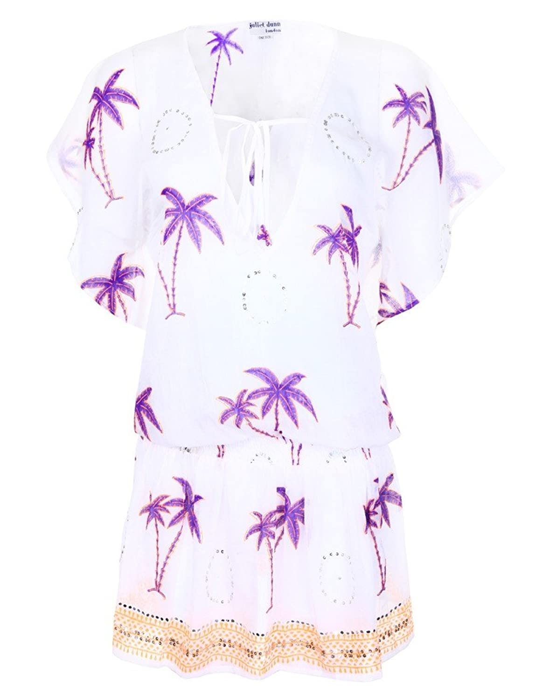 Womens Juliet Dunn V Neck Cotton Palm Print Dress - Purple/Orange