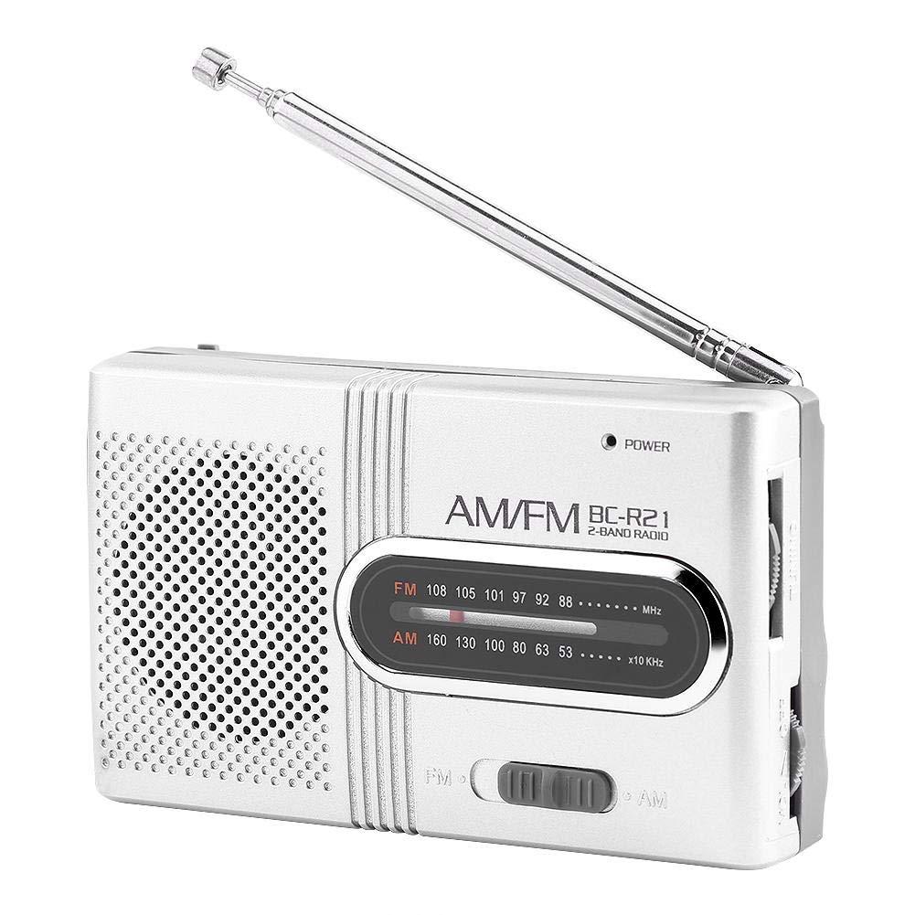 Sliver Universal Mini Radio Stereo Speaker Music Player with Telescopic Antenna Tosuny Portable AM FM Radio