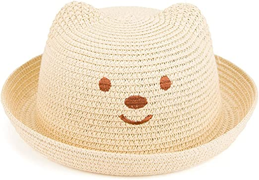 Hosaire 1x Sombreros del Sol Oso Sombrero de Paja para bebé para ...